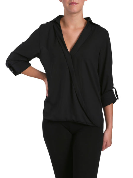 Cutie Cutie V Neck Top - Black