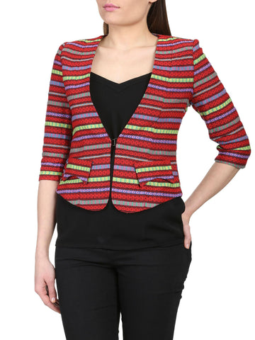 Cutie Tribal Print Fitted Blazer - Red/Yellow