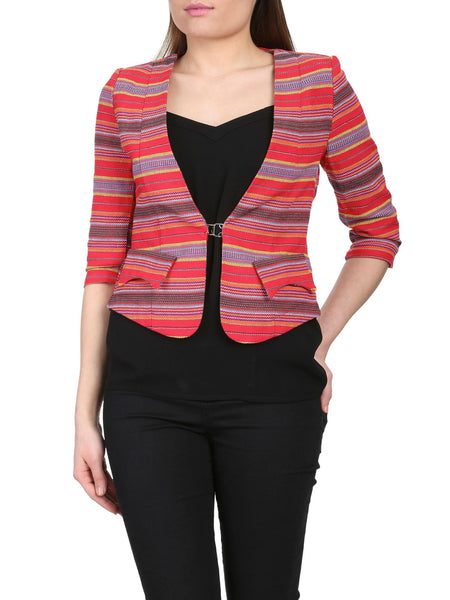 Cutie Tribal Print Fitted Blazer - Red
