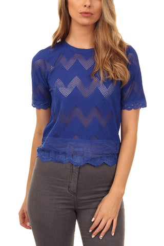 Cutie Zigzag Lace Top-Blue