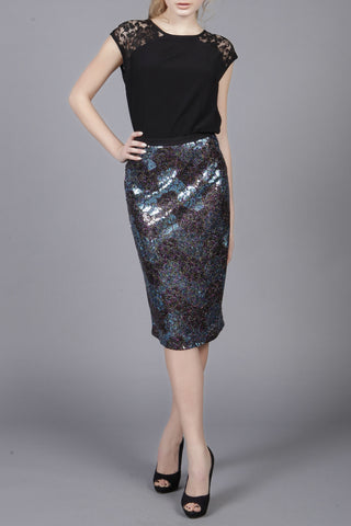 Cutie Blue Zig Zag Print Sequin Pencil Skirt