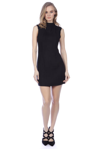 Cutie High Neck Fitted Dress Black