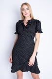 Black Ditsy Dots Ruffle Wrap Dress
