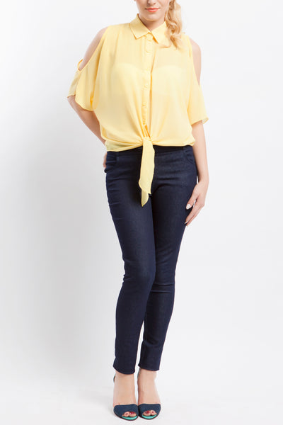 Cutie Yellow Cut Out Sleeves Top
