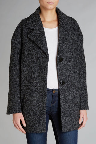 Cutie Mohair Look Boyfirend Coat - Black