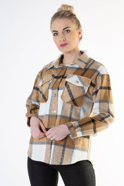 Brown Check Brushed Shacket