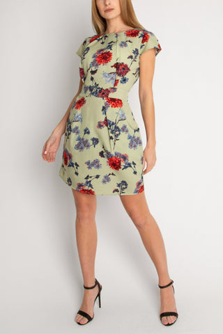 Sage Green Tulip Dress With Exquisite Florals