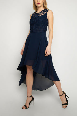 Lace Embroidered High Low Dress in Navy