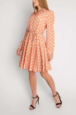 Mini Shirt Dress Polka In Pink