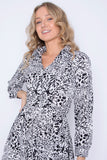 Full Sleeve Animal Print Shirt Dress
