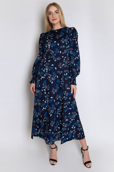 Shirred Cuff Midi Length Dress