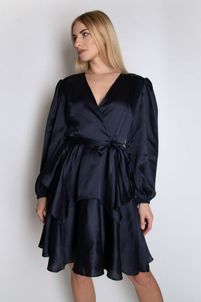 Full Sleeve Satin Dress with Ruffle Details