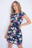Short Sleeved Floral Dress - Navy