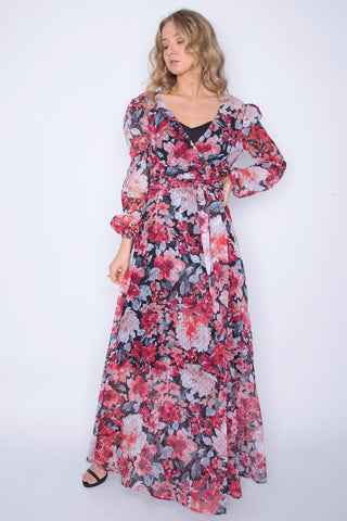 Full Sleeved Textured Fully Lined Wrap Dress