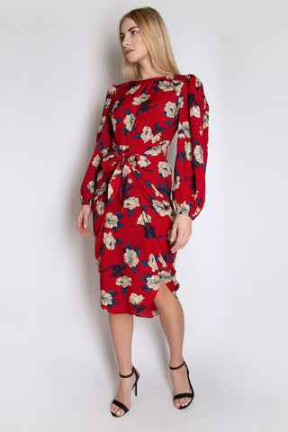Full Sleeve Floral Dress with Knot Waist Detail
