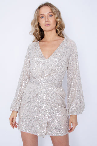 Sequin Full Sleeved Front Tie Silver Dress