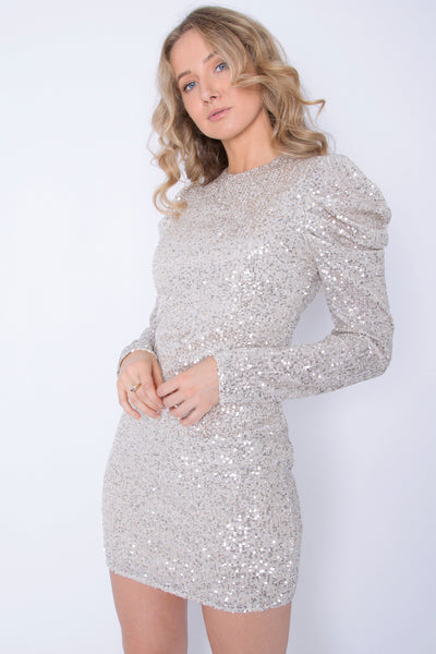 Sequin Full Sleeved Silver Dress