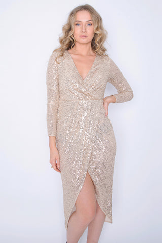 Full Sleeve Sequin dress with plunge neck