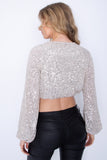 Sequin Cropped Top - Silver