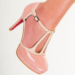 Dusky Rose Pink and Cream Platform Strappy High Heels