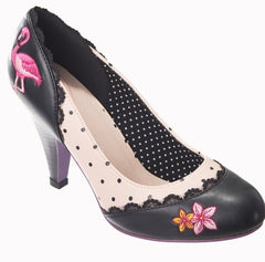 Black Cream Polka Dot Flamingo Shoe - Pretty Kitty Fashion