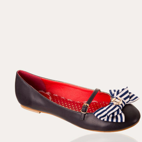 Navy Nautical Mary Jane Bow Pumps