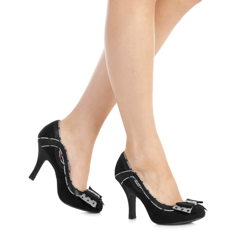 Ruby Shoo Black Bow Vamp High Heel Court Shoes