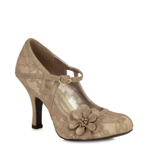 Ruby Shoo Gold Flower Corsage Mary Jane Heels