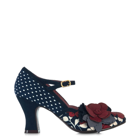 Ruby Shoo Navy Blue and White Polka Dot Floral Corsage Mary Jane Heels
