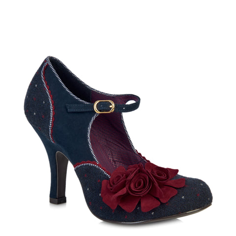 Ruby Shoo Navy Blue and Red Corsage Mary Jane Heels