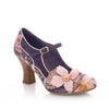 Ruby Shoo Slate Grey Pink Floral Mary Jane Shoes - Pretty Kitty Fashion