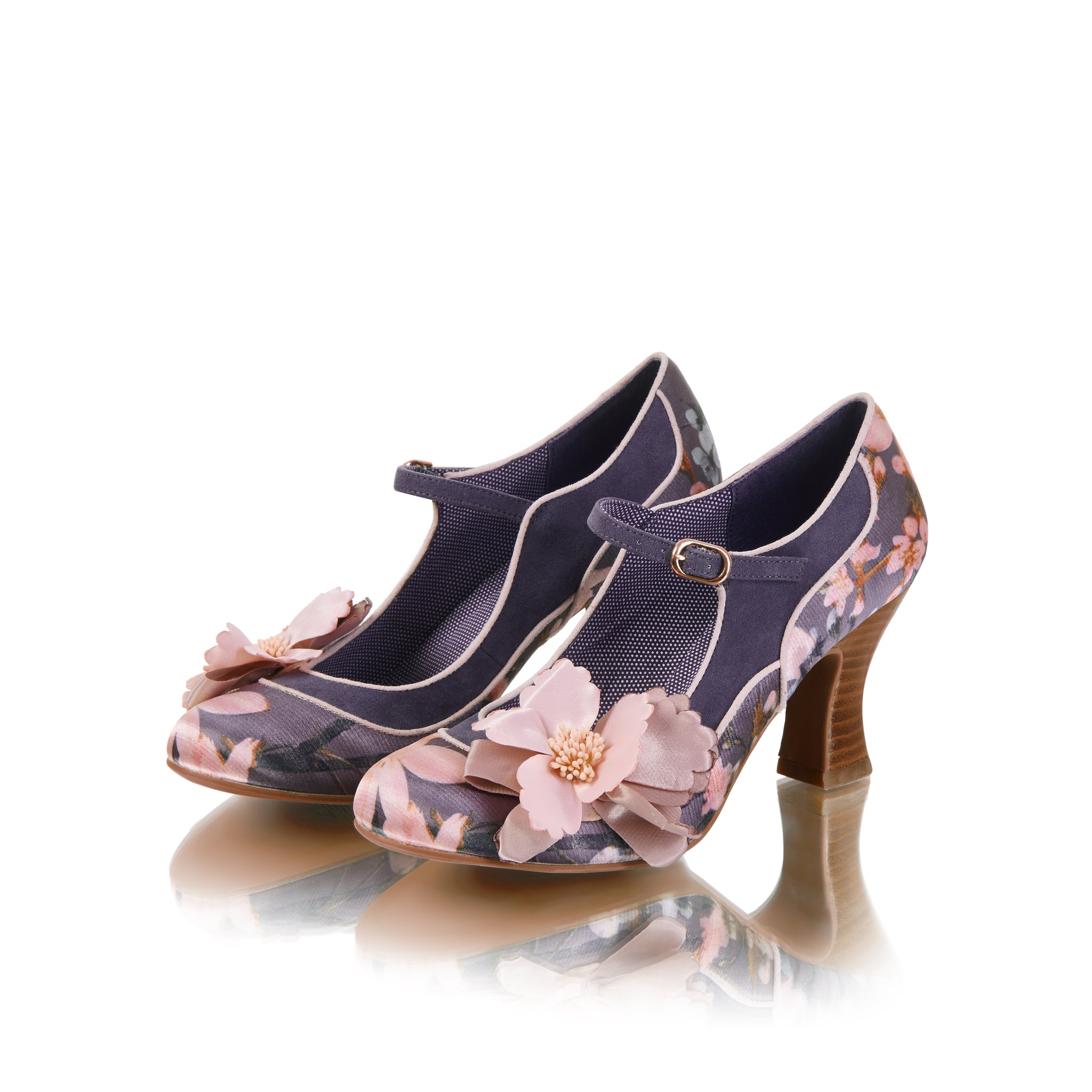 f1428be3522 Ruby Shoo Slate Grey Pink Floral Mary Jane Shoes