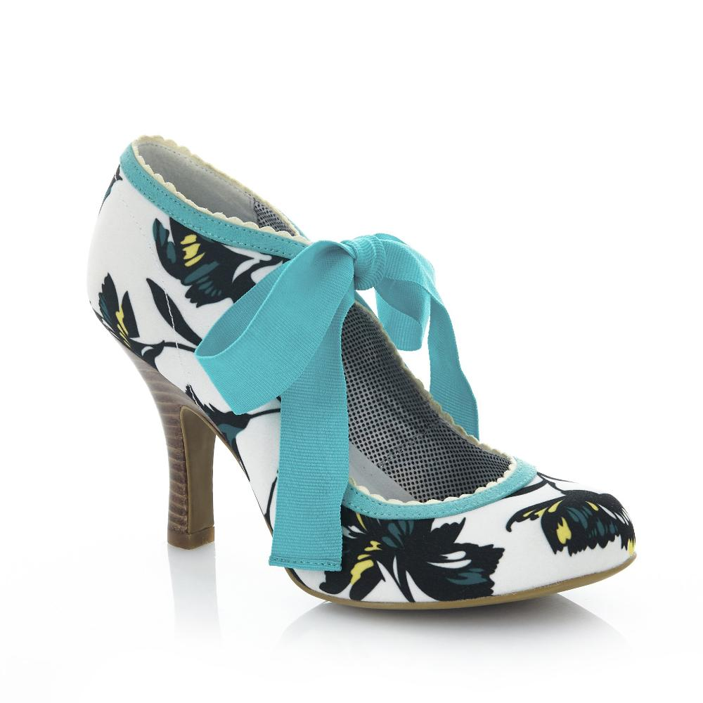 Ruby Shoo Willow White and Aqua Floral Print Ribbon Tie Court Shoes - Pretty Kitty Fashion