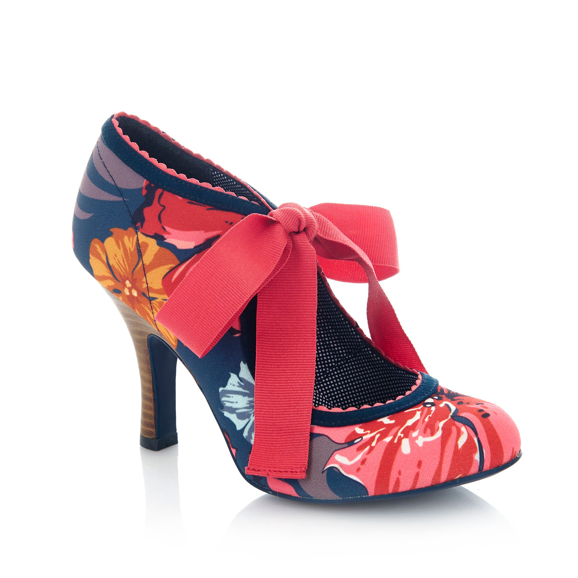 Ruby Shoo Willow Navy Coral Floral Print Ribbon Tie Court Shoes - Pretty Kitty Fashion