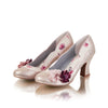 Ruby Shoo Champagne Heeled Corsage Court Shoes - Pretty Kitty Fashion