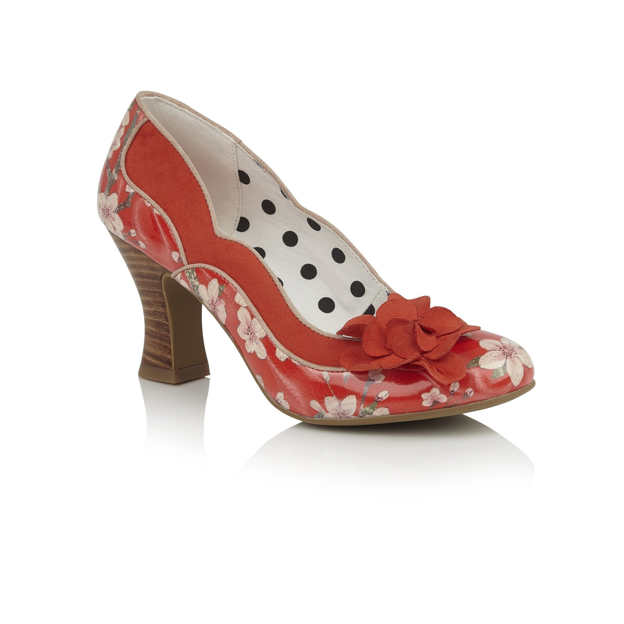 a76dd72b1b Ruby Shoo Coral Red Floral Heeled Corsage Viola Court Shoes