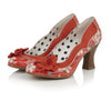 Ruby Shoo Coral Red Floral Heeled Corsage Viola Court Shoes - Pretty Kitty Fashion
