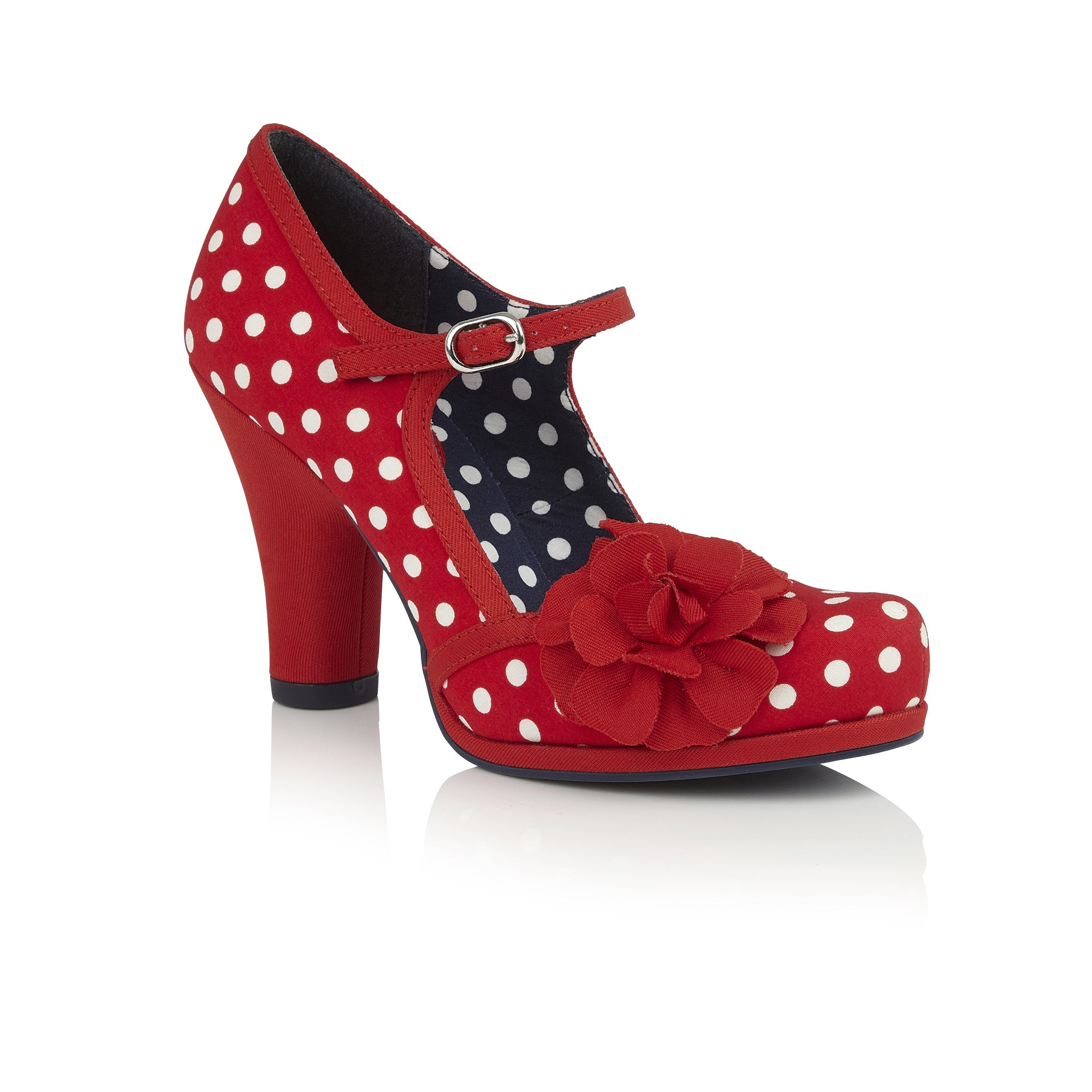 5719854d Ruby Shoo Hannah Red And White Polka Dot Corsage Court Shoes