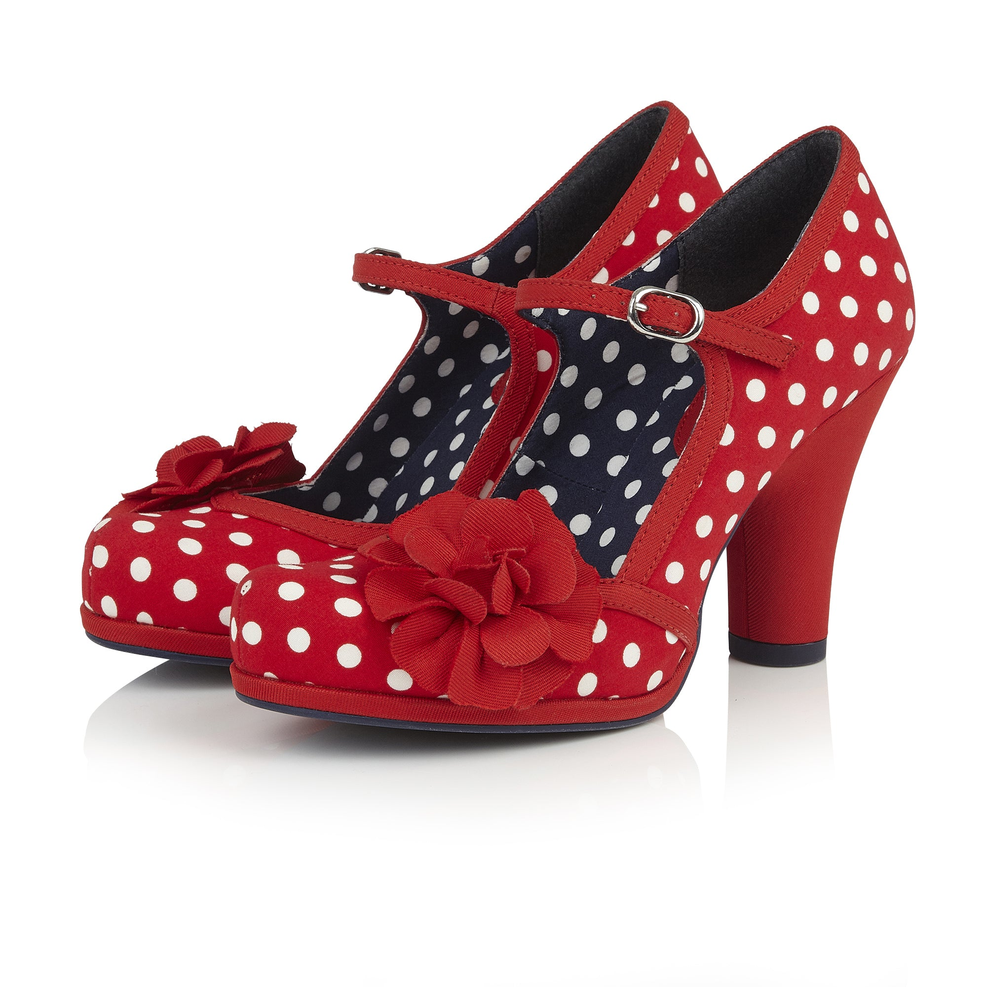 d71f8142f2 Ruby Shoo Hannah Red And White Polka Dot Corsage Court Shoes ...