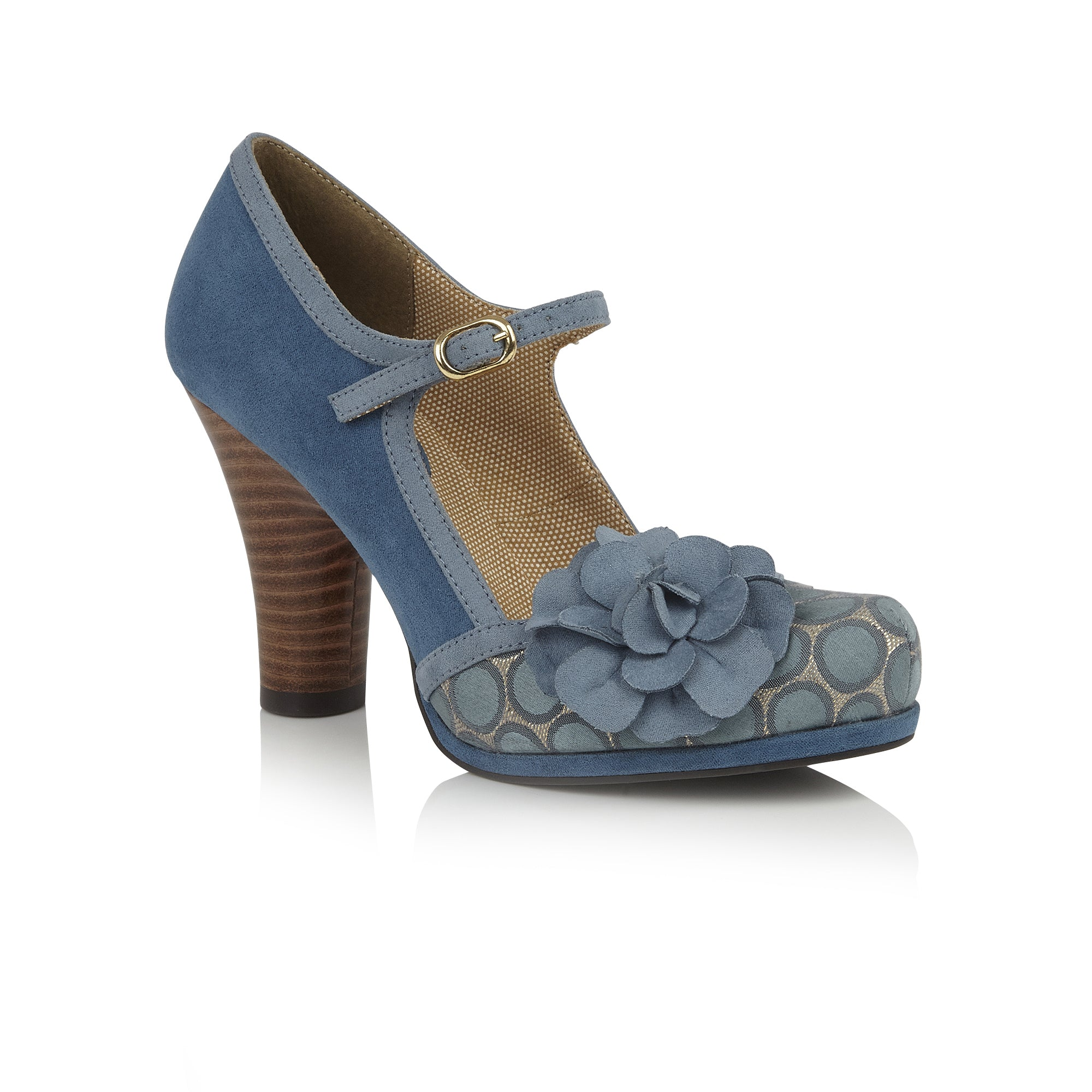 440bb1bf Ruby Shoo Hannah Teal Blue Polka Dot Corsage Court Shoes