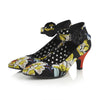 Ruby Shoo Black Yellow Vintage Floral Strap Kitten Carla Heels - Pretty Kitty Fashion