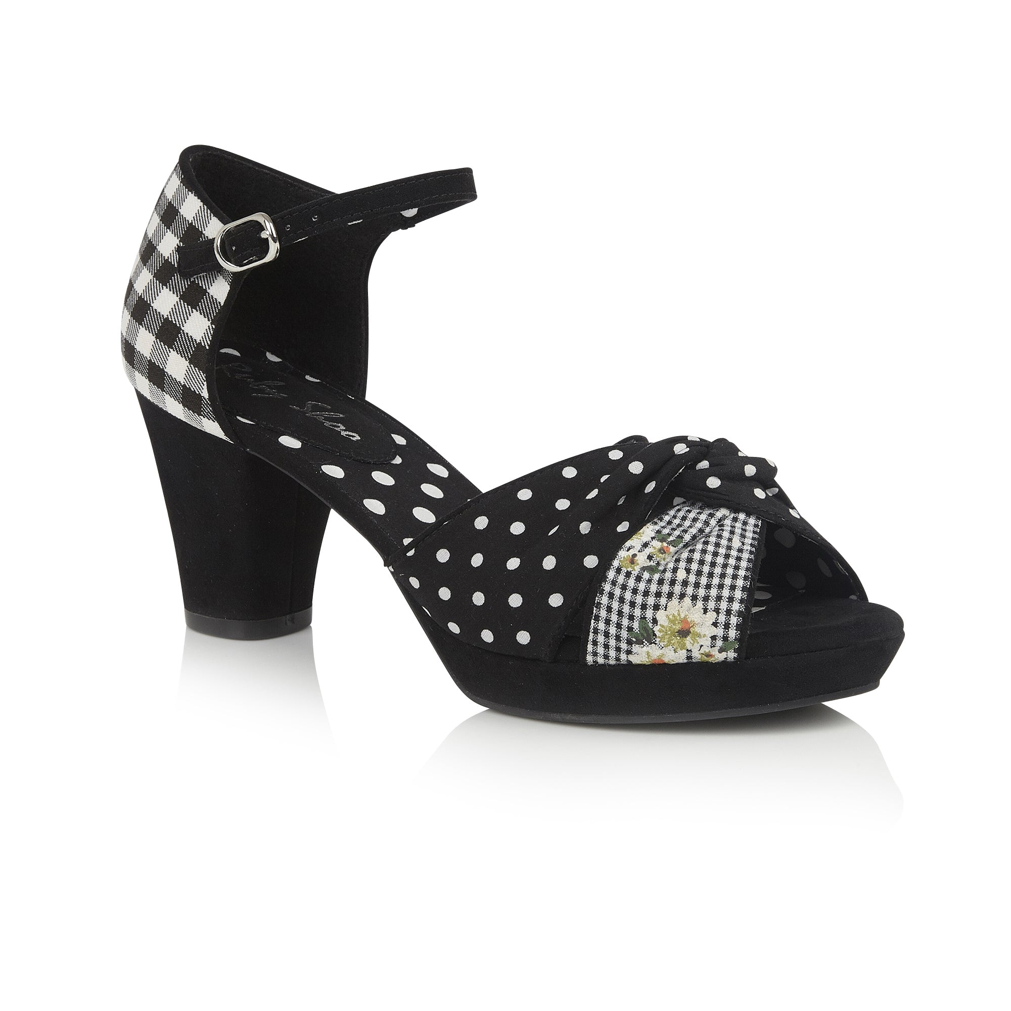 9c8c71f4a66 Ruby Shoo Black And White Strap Open Toe Xanthe Heels
