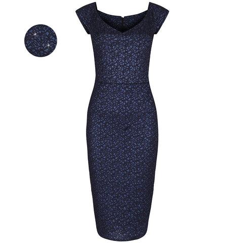 Navy Blue Embossed Hollywood Party Wiggle Dress