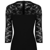 Black Vintage Lace Detail Bodycon Midi Dress