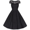 Black Cotton and Lace Rockabilly Cocktail Swing Dress - Pretty Kitty Fashion