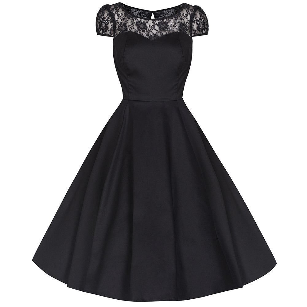 Black Cotton and Lace Rockabilly Cocktail Swing Dress - Pretty Kitty ...