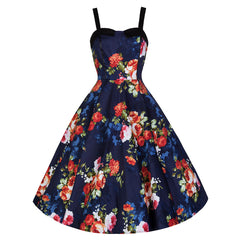 Pretty Kitty Navy Floral Swing Dress