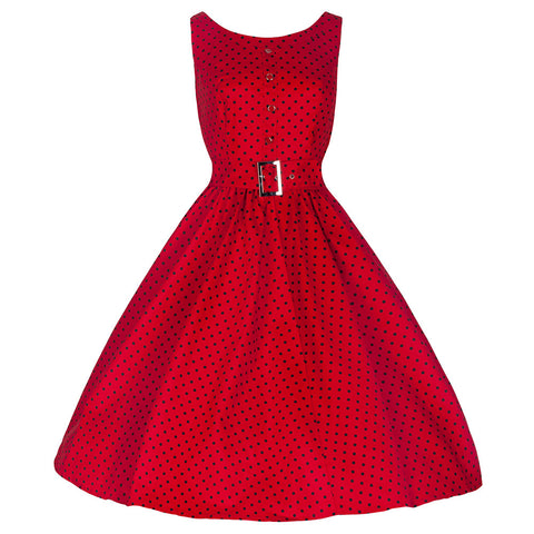 Pretty Kitty Red Polka Dot Audrey Swing Dress