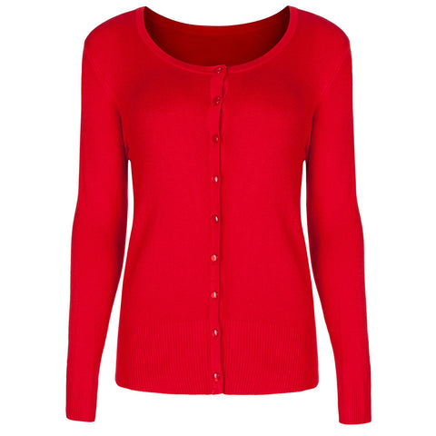 PRETTY KITTY RED STRETCH BUTTON CARDIGAN