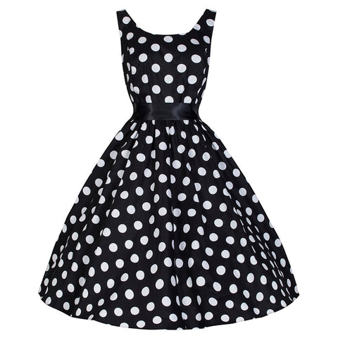 Pretty Kitty Black White Big Polka Dot Audrey Dress
